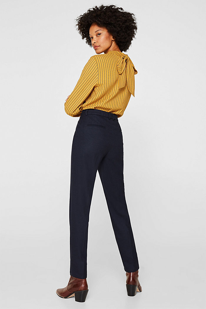 Ankle-length trousers made of flannel, NAVY, detail image number 3