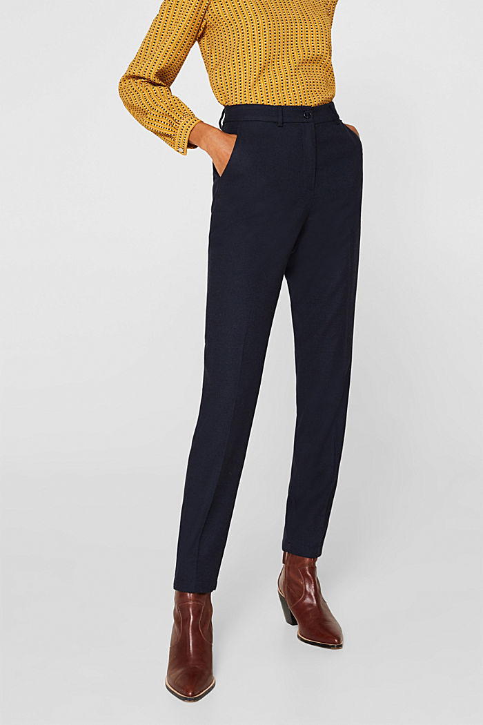 Ankle-length trousers made of flannel, NAVY, detail image number 6