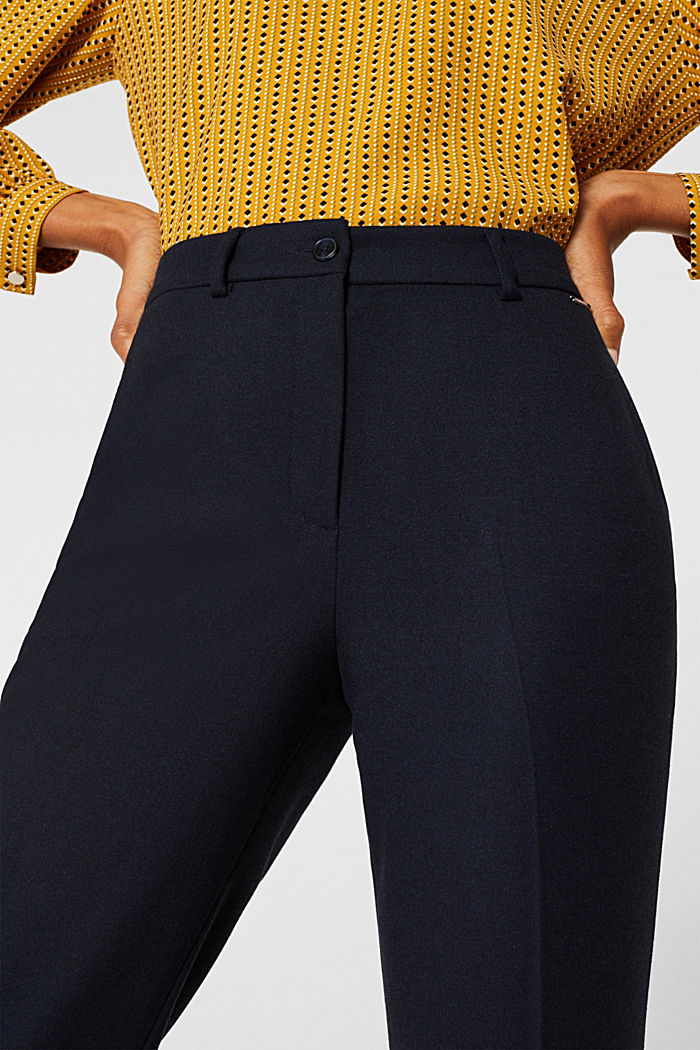 Ankle-length trousers made of flannel, NAVY, detail image number 2