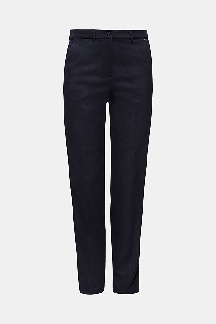 Ankle-length trousers made of flannel, NAVY, detail image number 7