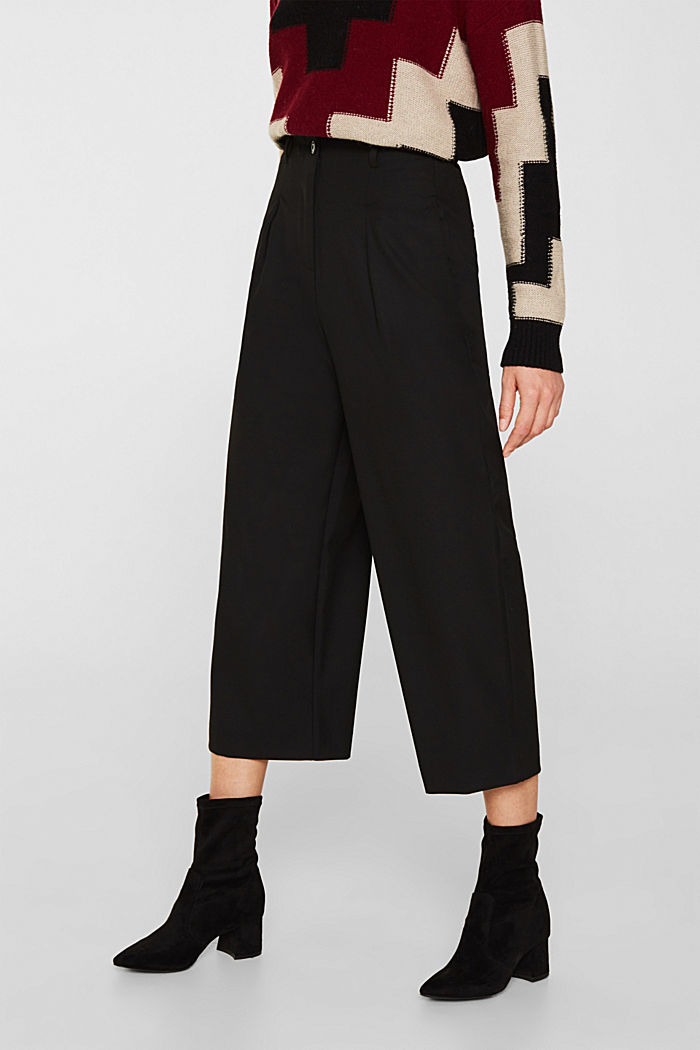 With wool: Culottes with waist pleats, BLACK, detail image number 0