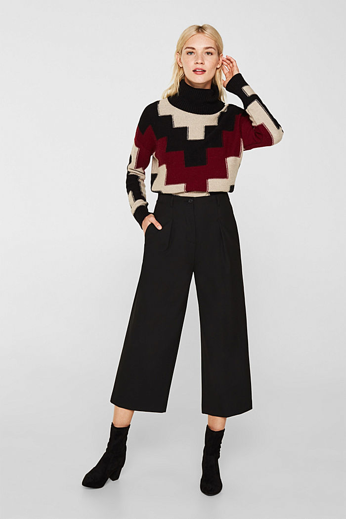 With wool: Culottes with waist pleats, BLACK, detail image number 1