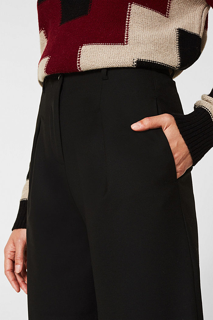 With wool: Culottes with waist pleats, BLACK, detail image number 2