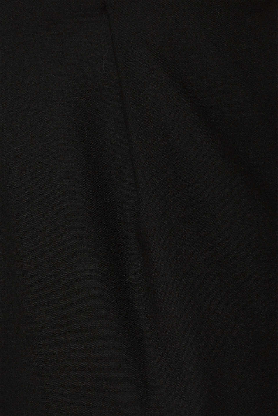 With wool: Culottes with waist pleats, BLACK, detail image number 4