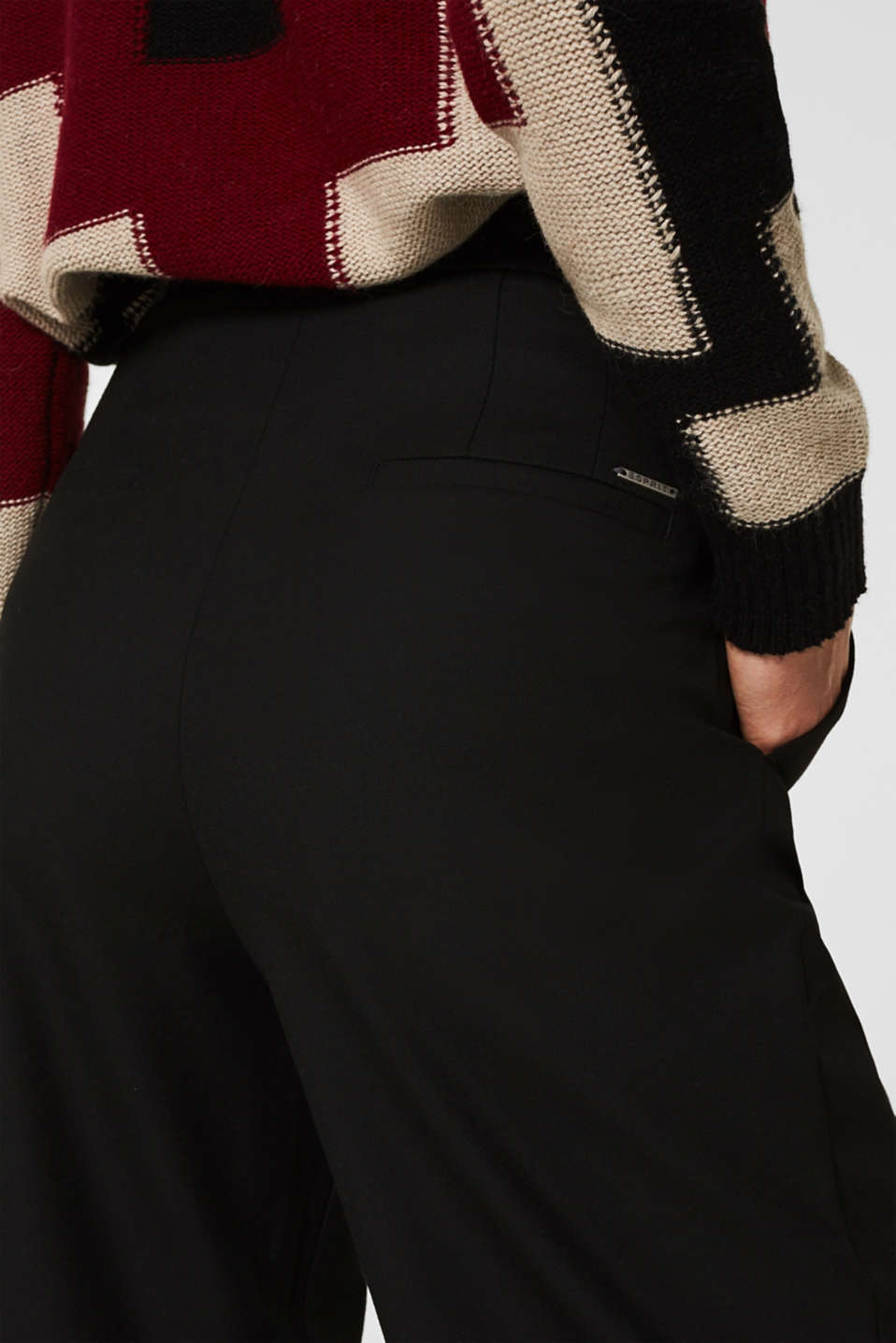 With wool: Culottes with waist pleats, BLACK, detail image number 5