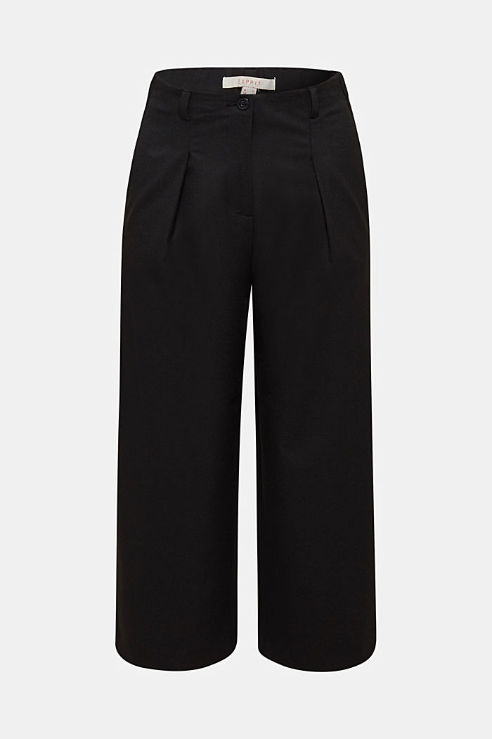 With wool: Culottes with waist pleats, BLACK, detail image number 6
