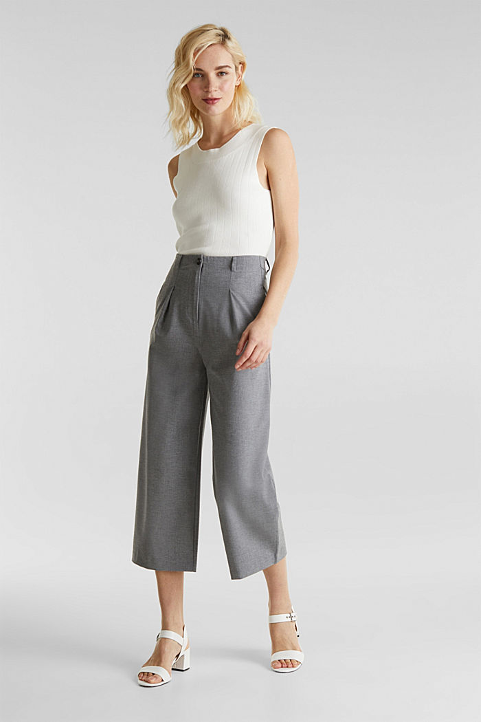 With wool: Culottes with waist pleats, LIGHT GREY, detail image number 0