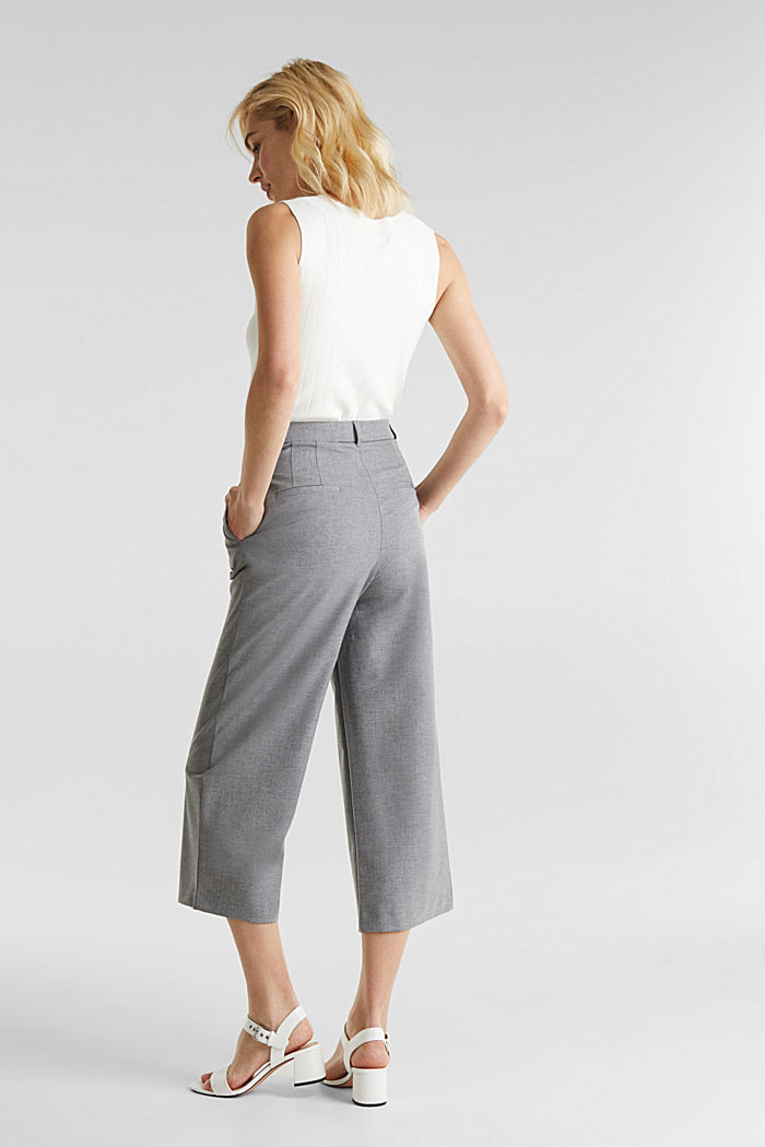 With wool: Culottes with waist pleats, LIGHT GREY, detail image number 3