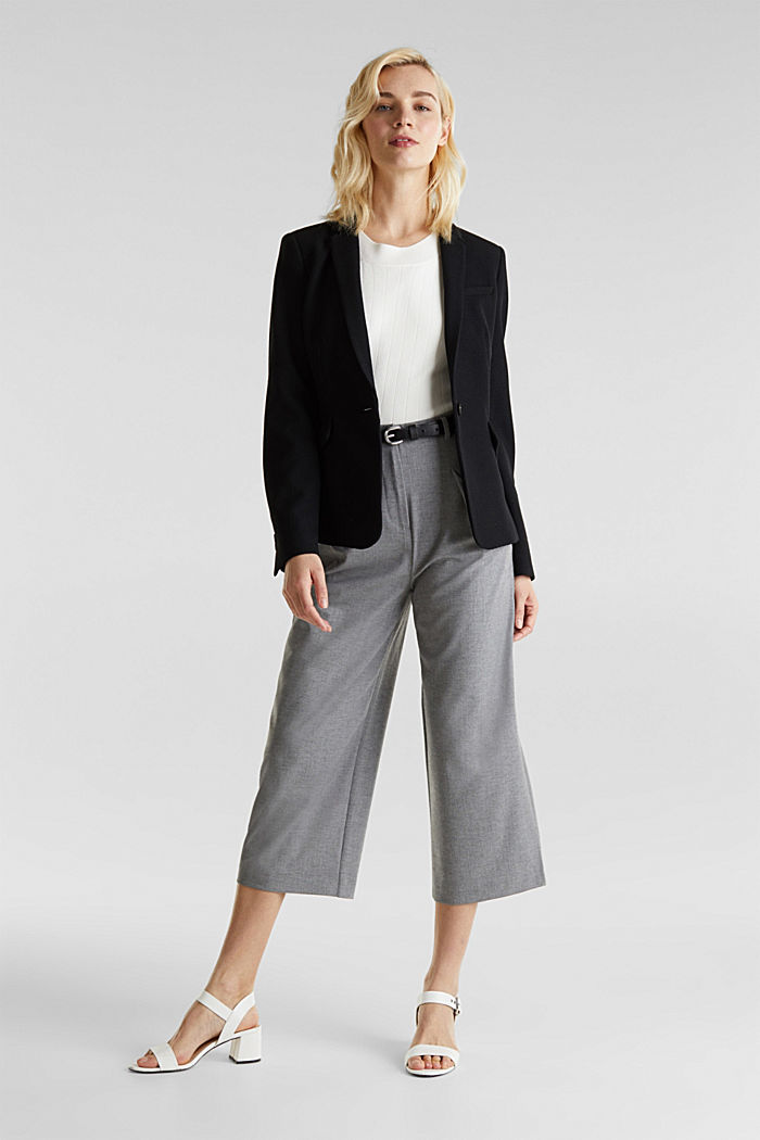 With wool: Culottes with waist pleats, LIGHT GREY, detail image number 1
