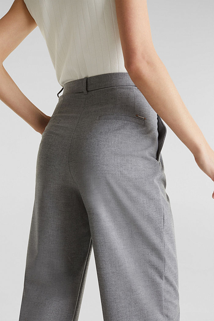 With wool: Culottes with waist pleats, LIGHT GREY, detail image number 5