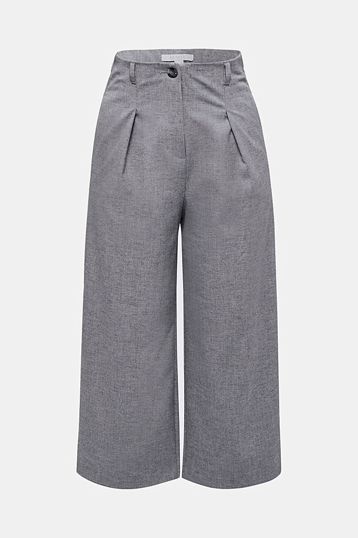 With wool: Culottes with waist pleats, LIGHT GREY, detail image number 7