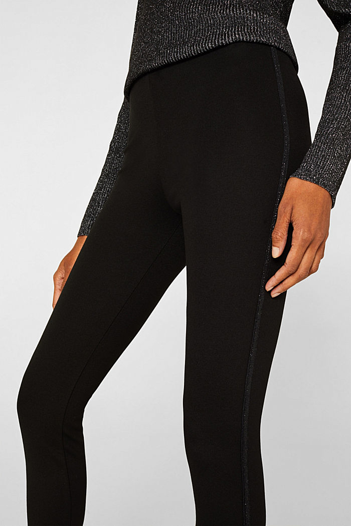 Treggings with glittering stripes, BLACK, detail image number 2