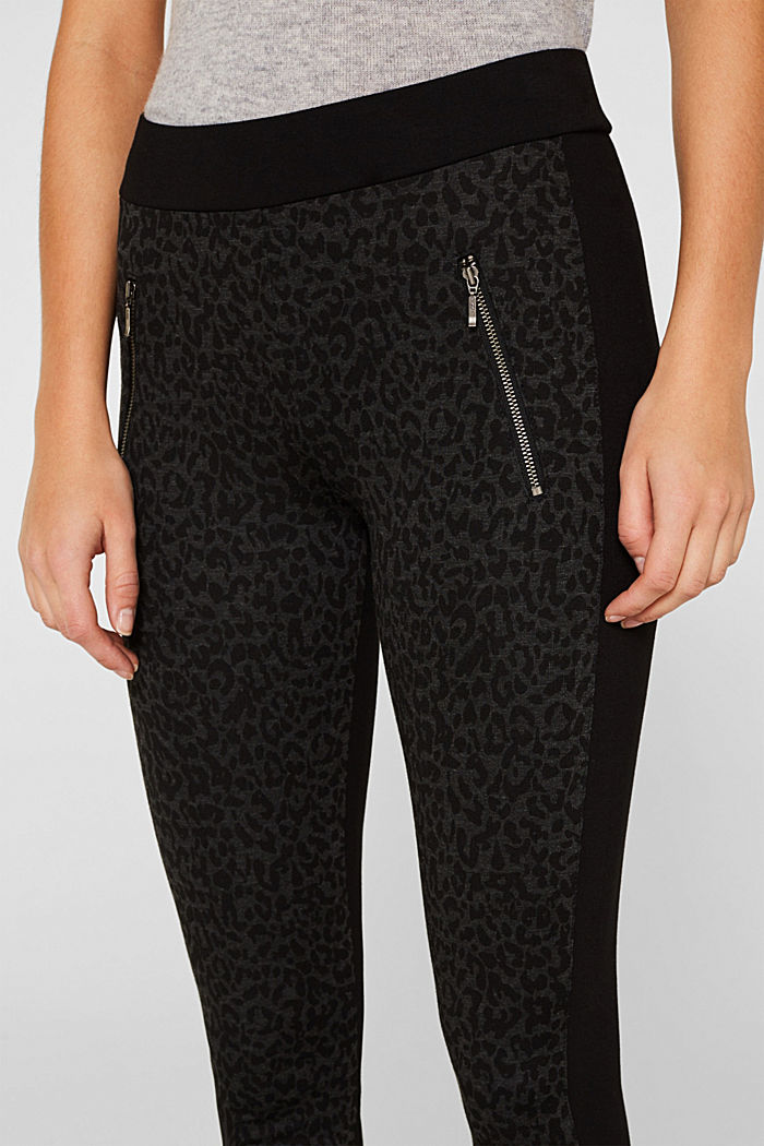 Treggings with a print and zips, BLACK, detail image number 2