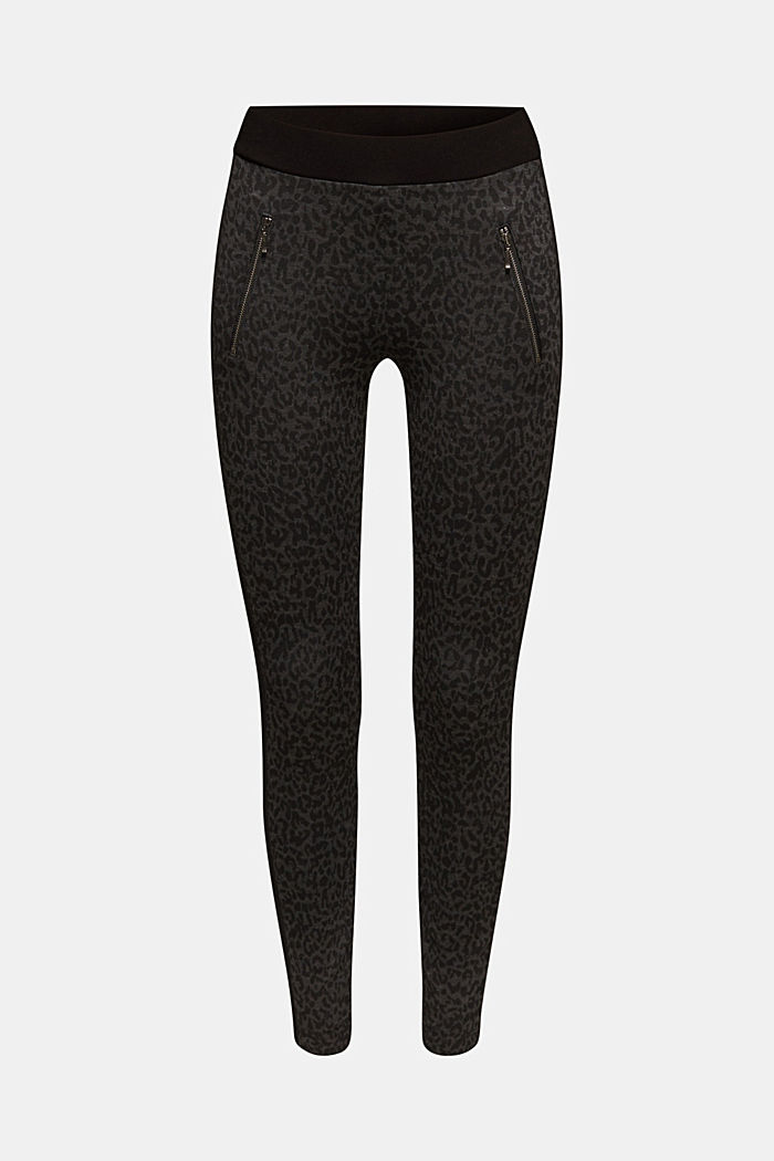Treggings with a print and zips, BLACK, detail image number 7
