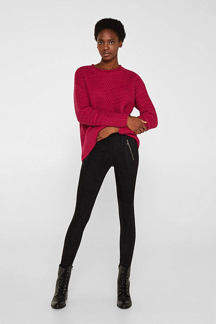 Material mix treggings with zips, BLACK, detail image number 0