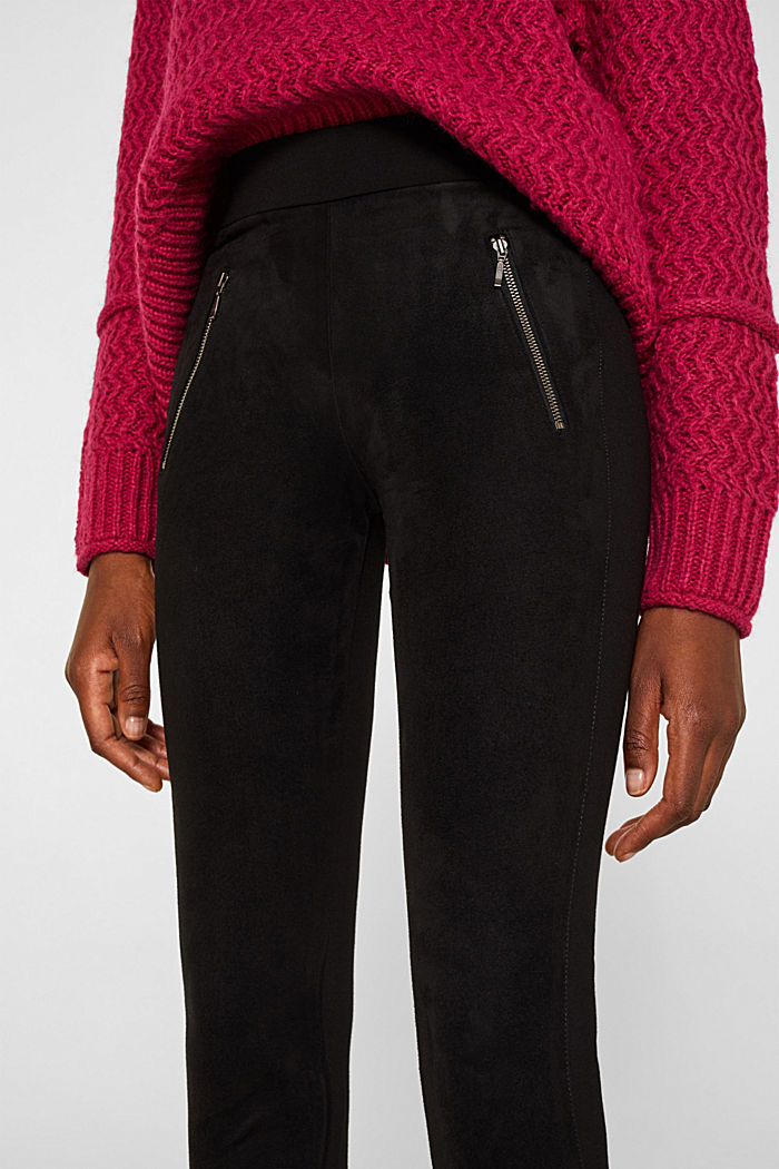 Material mix treggings with zips, BLACK, detail image number 2