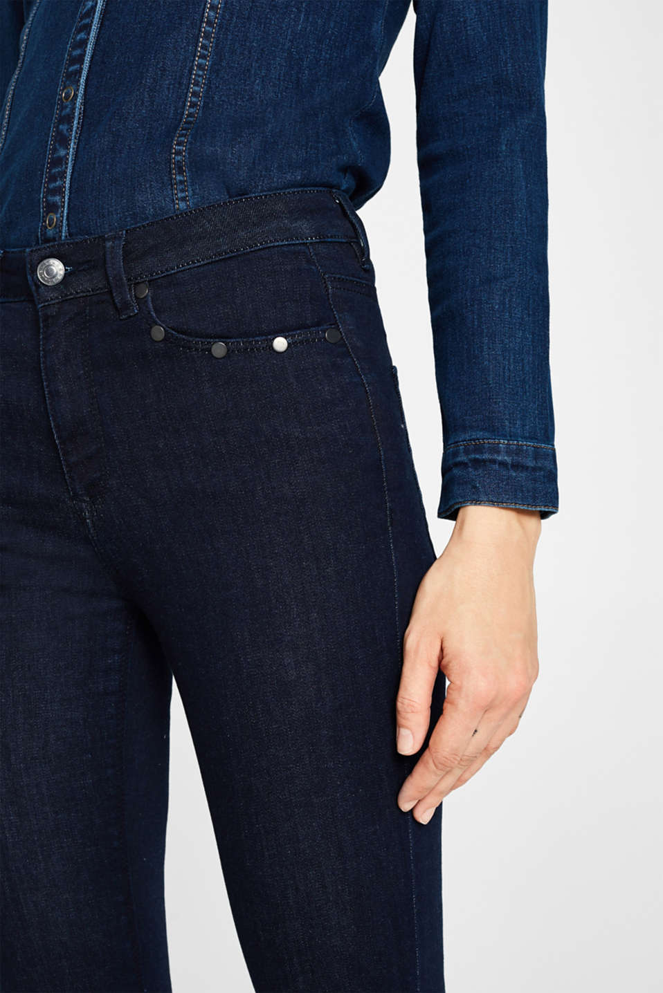 Shaping jeans with studs, BLUE RINSE, detail image number 2