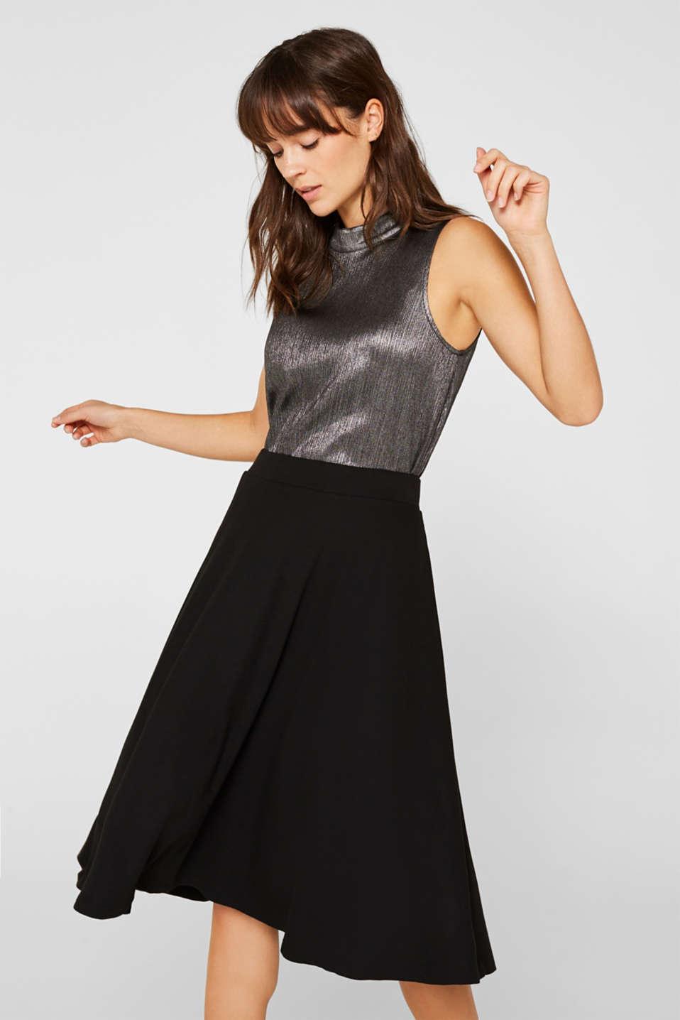 Flared stretch jersey skirt, BLACK, detail image number 0