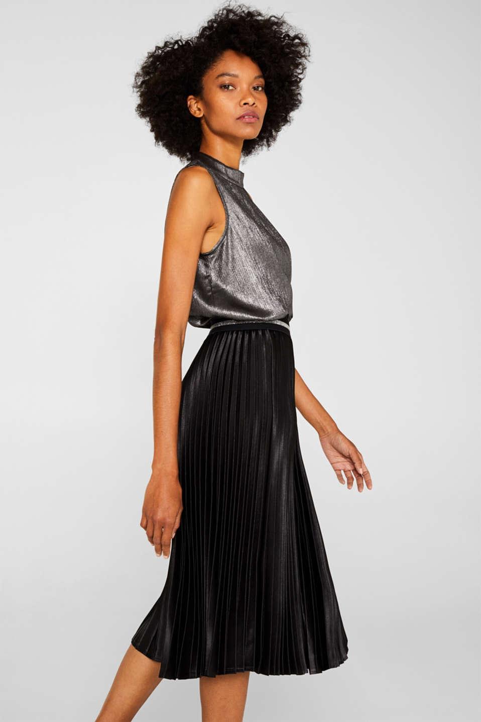 Satin plissé midi skirt, BLACK, detail image number 0