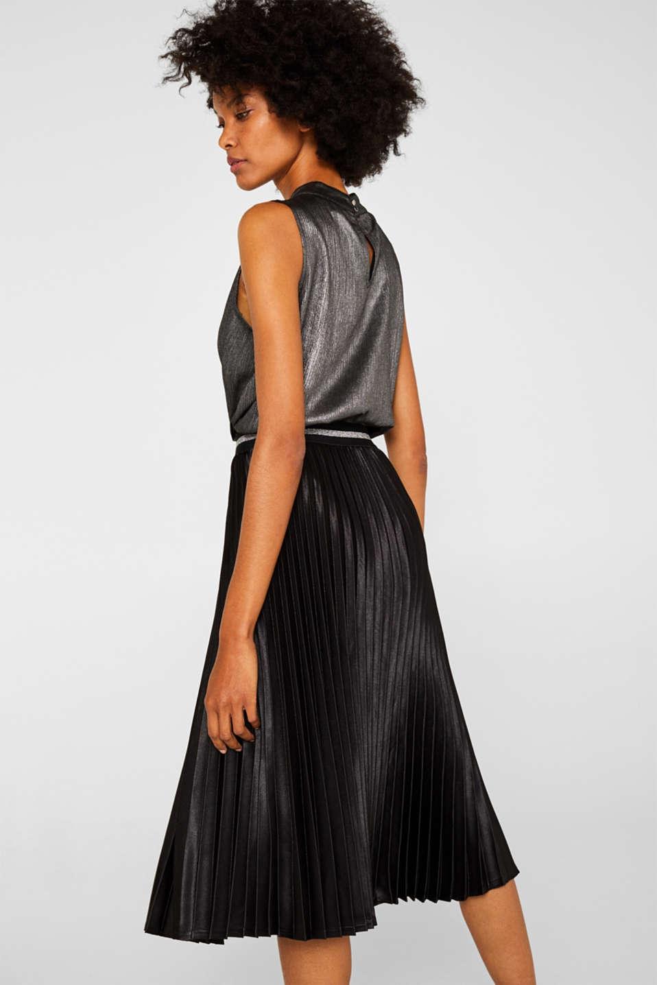 Satin plissé midi skirt, BLACK, detail image number 3