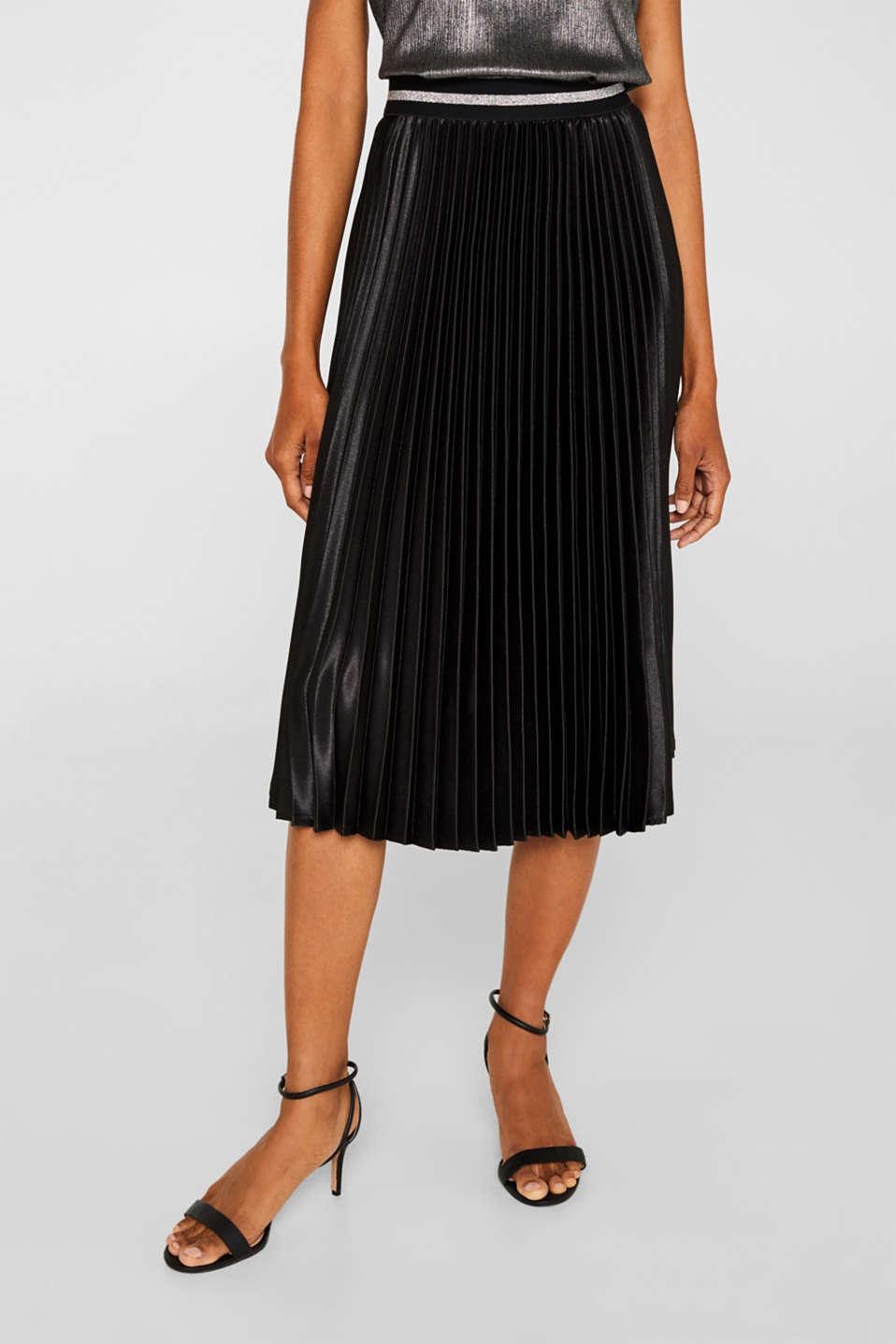 Satin plissé midi skirt, BLACK, detail image number 6