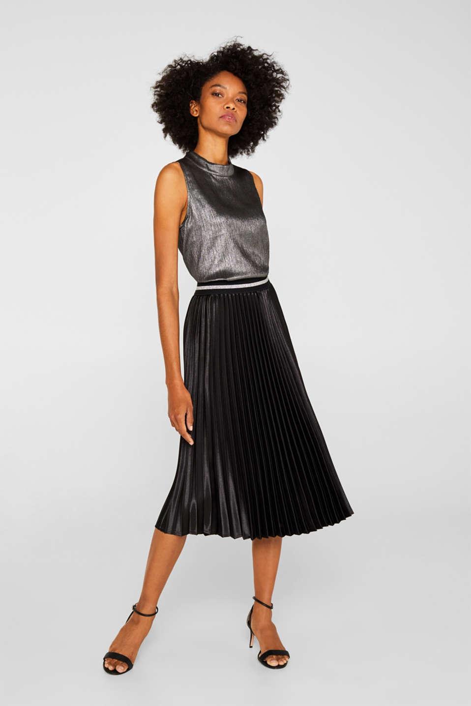 Satin plissé midi skirt, BLACK, detail image number 1