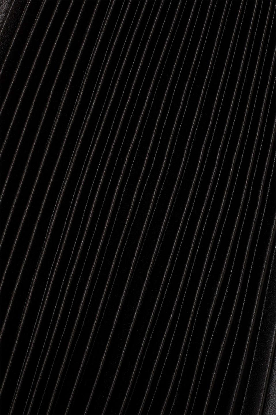 Satin plissé midi skirt, BLACK, detail image number 2