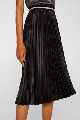 Satin plissé midi skirt, BLACK, detail