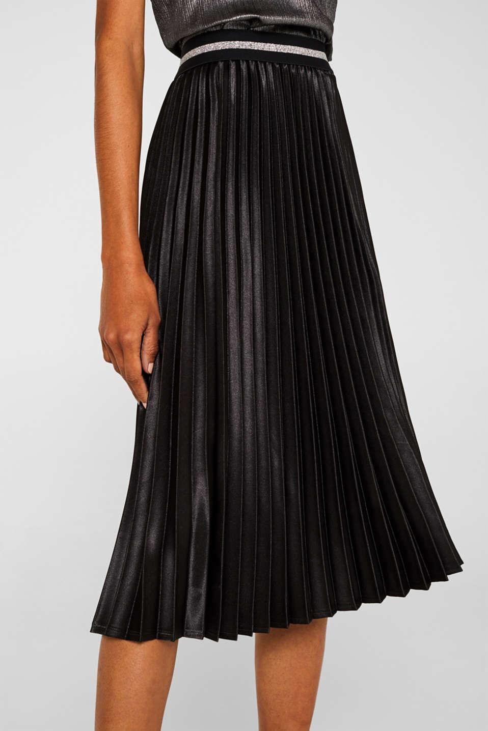 Satin plissé midi skirt, BLACK, detail image number 4
