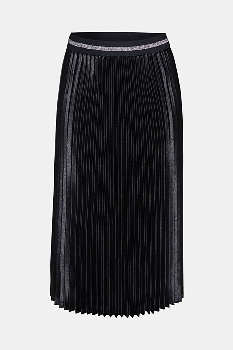 Satin plissé midi skirt