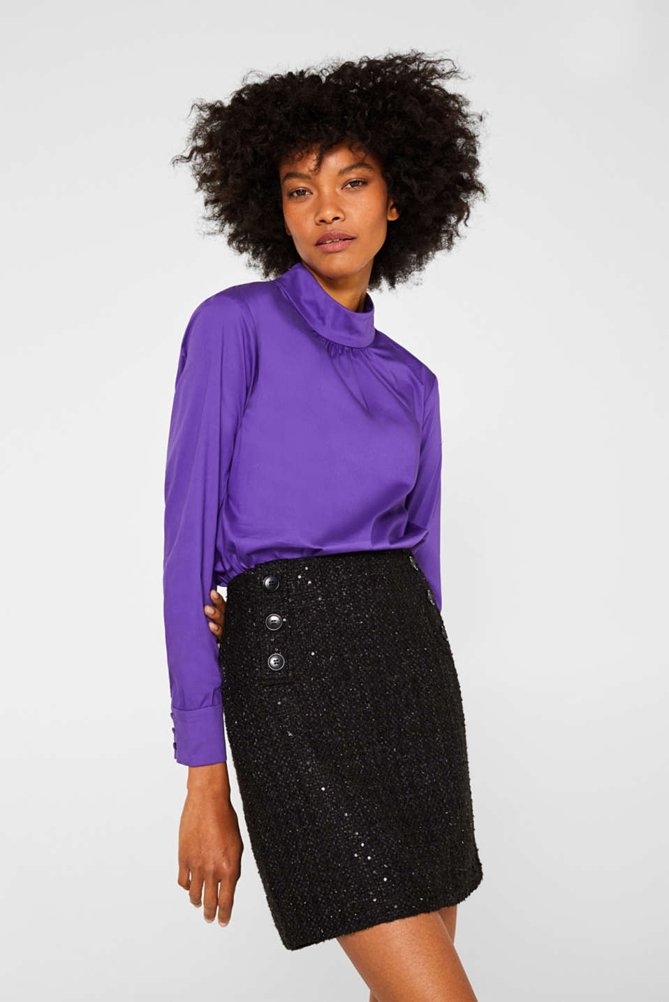 Esprit - Bouclé skirt with sequins