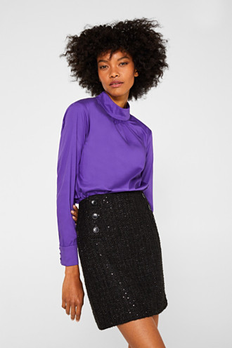 Bouclé skirt with sequins