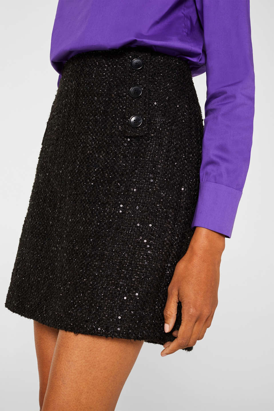 Bouclé skirt with sequins, BLACK, detail image number 2