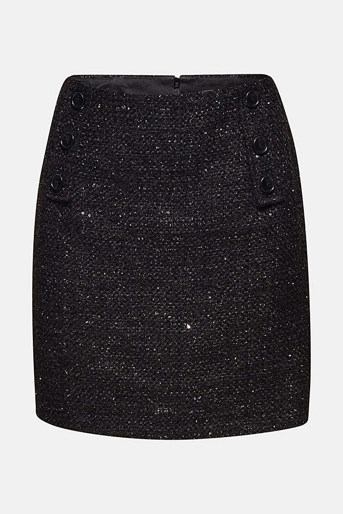 Bouclé skirt with sequins, BLACK, detail image number 7
