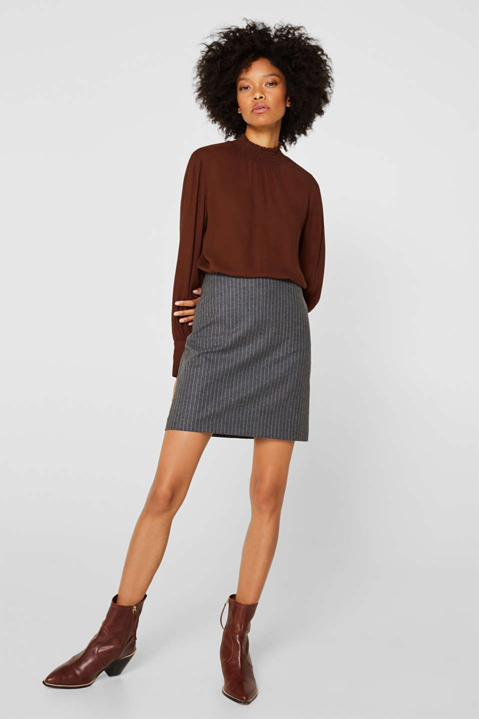 Esprit - Flannel skirt with pinstripes