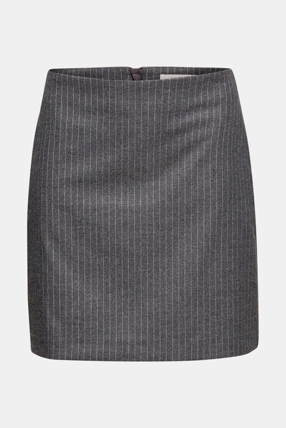 Flannel skirt with pinstripes, GUNMETAL, detail image number 5