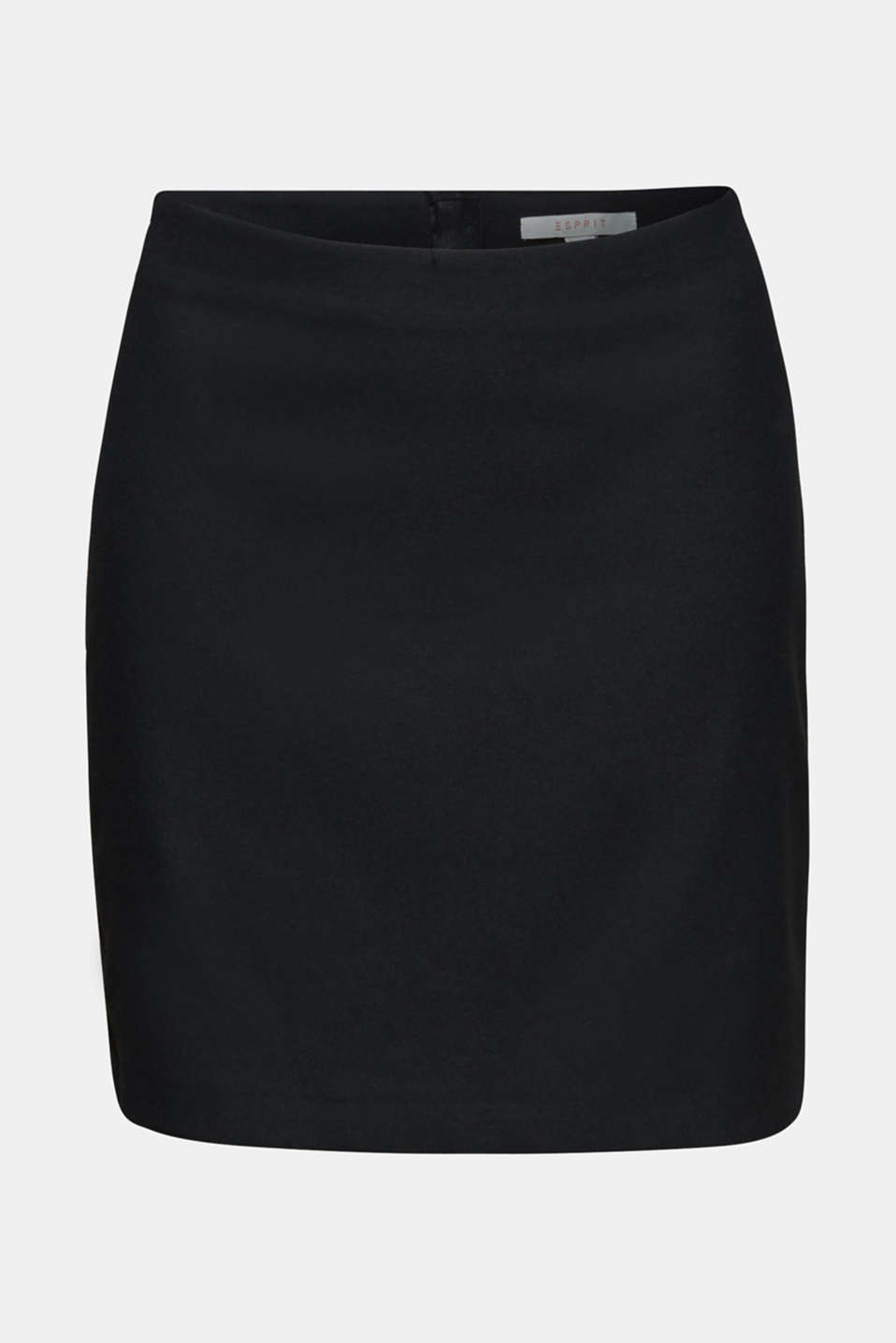 Stretch fabric skirt with a zip, BLACK, detail image number 6