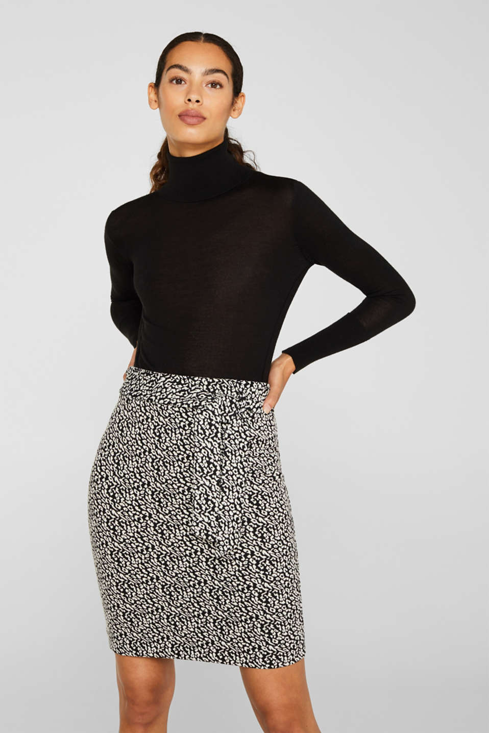 Esprit - Stretch jersey skirt in a leopard look