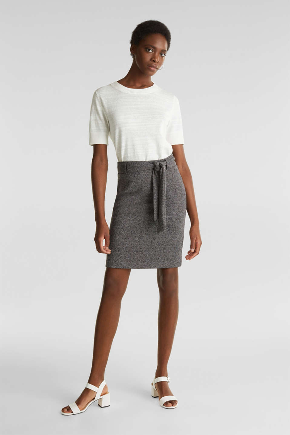 Stretch skirt with a salt-and-pepper texture, BLACK, detail image number 0