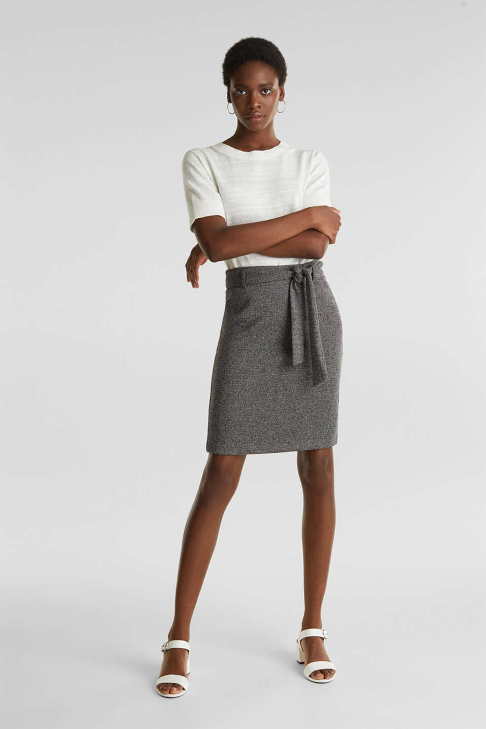 Stretch skirt with a salt-and-pepper texture, BLACK, detail image number 1