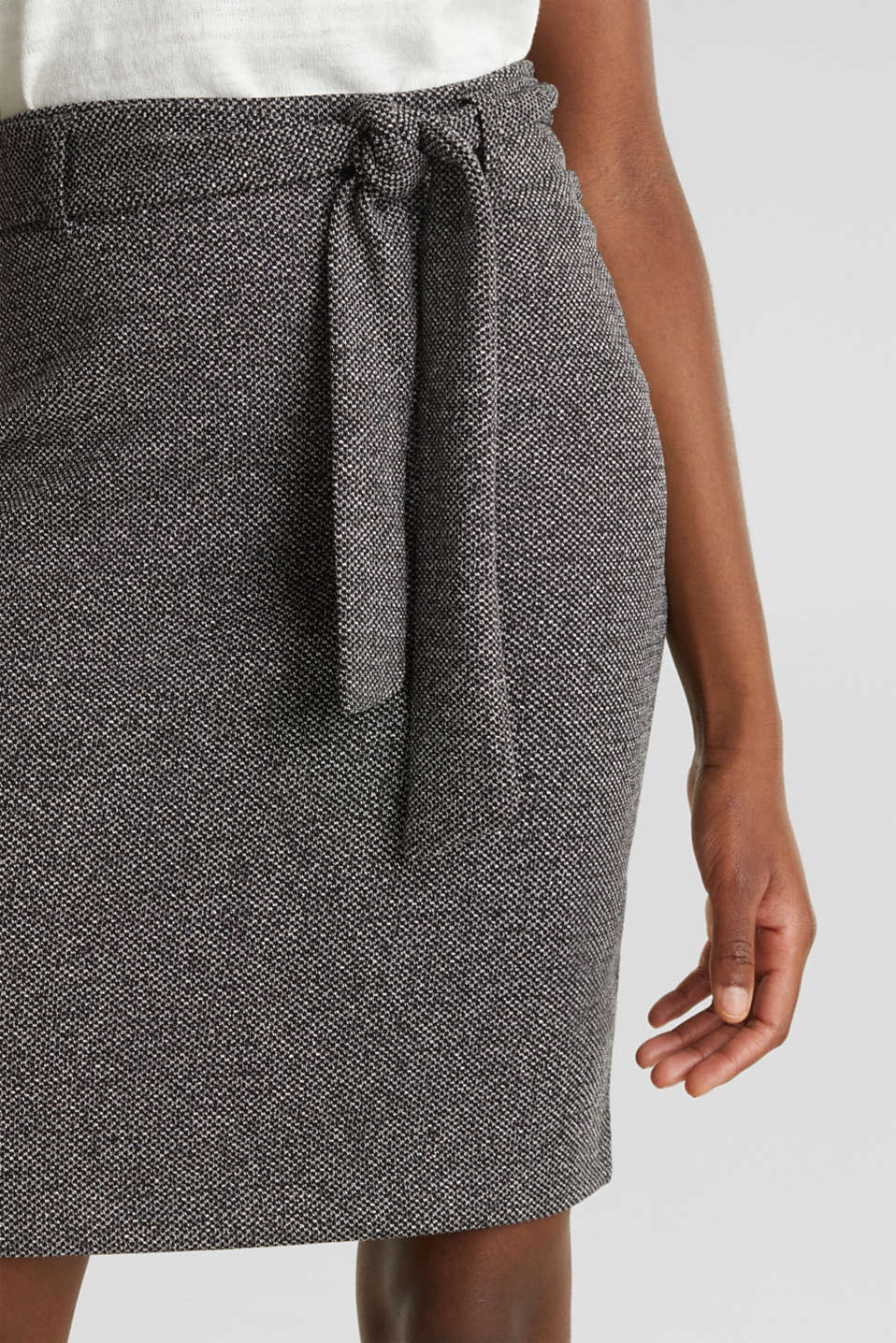 Stretch skirt with a salt-and-pepper texture, BLACK, detail image number 2