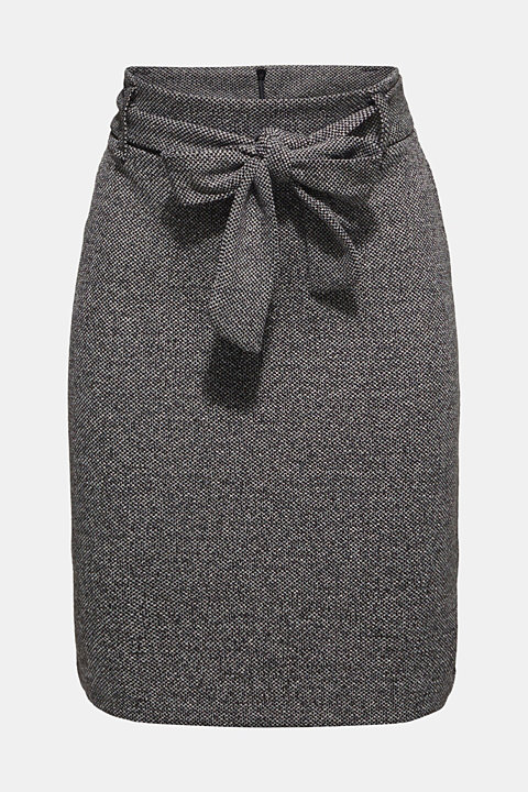 Stretch skirt with a salt-and-pepper texture