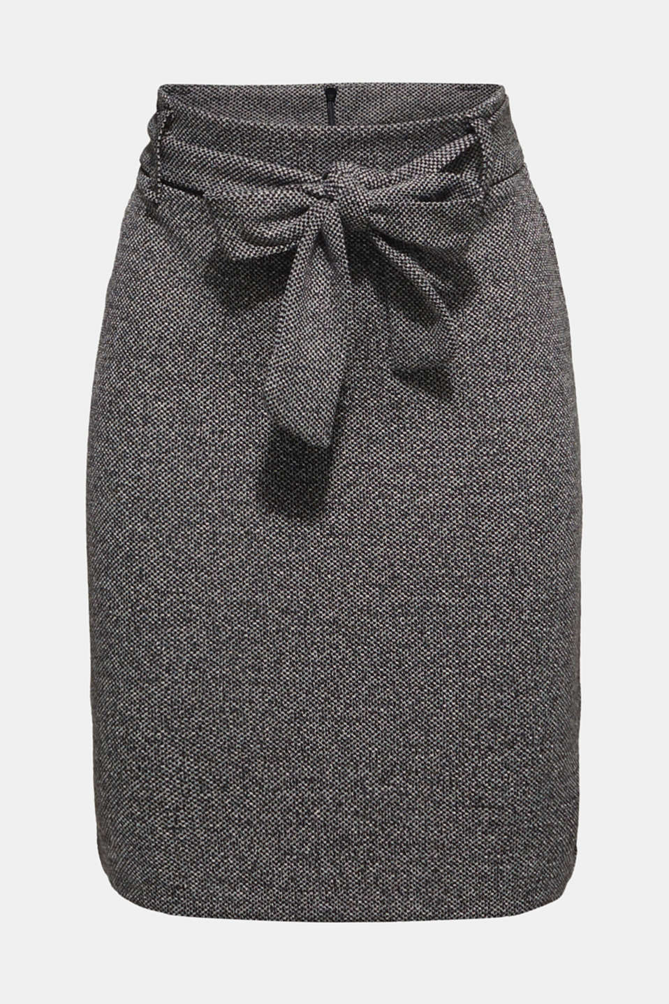 Stretch skirt with a salt-and-pepper texture, BLACK, detail image number 6