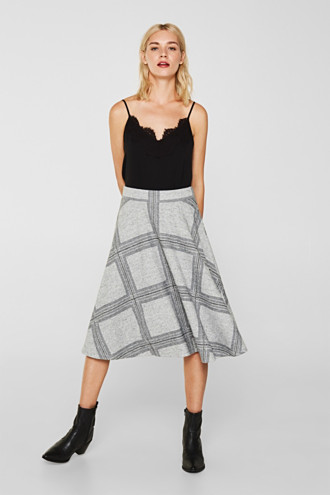 Fluffy jersey skirt with a check pattern