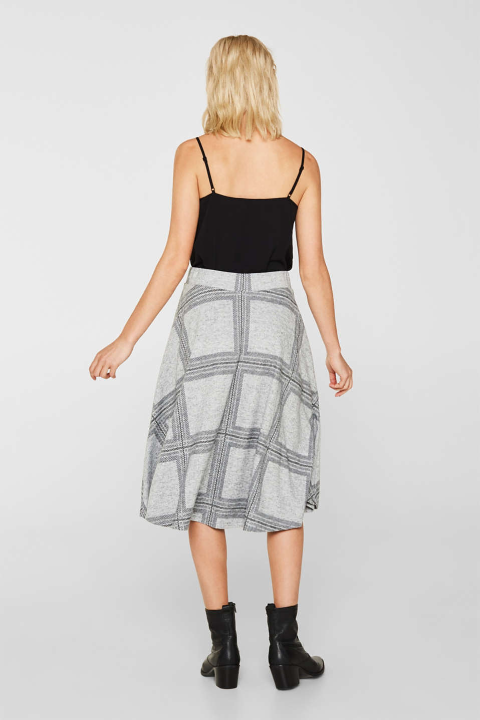 Fluffy jersey skirt with a check pattern, LIGHT GREY 5, detail image number 3