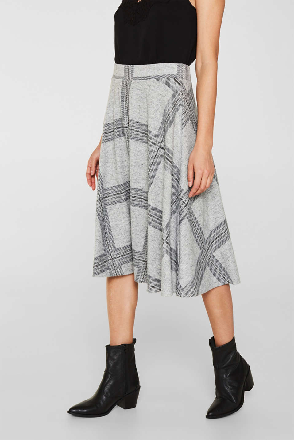 Fluffy jersey skirt with a check pattern, LIGHT GREY 5, detail image number 7