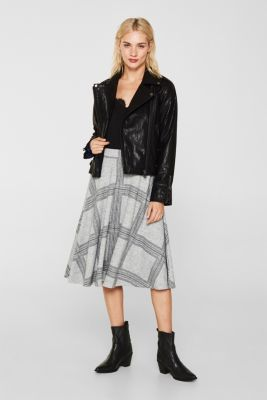Fluffy jersey skirt with a check pattern, LIGHT GREY 5, detail