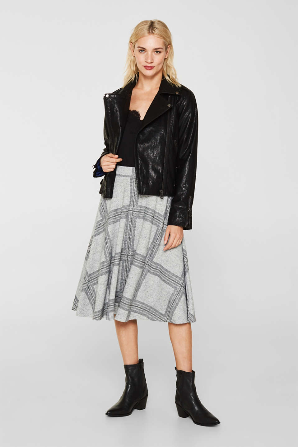 Fluffy jersey skirt with a check pattern, LIGHT GREY 5, detail image number 1