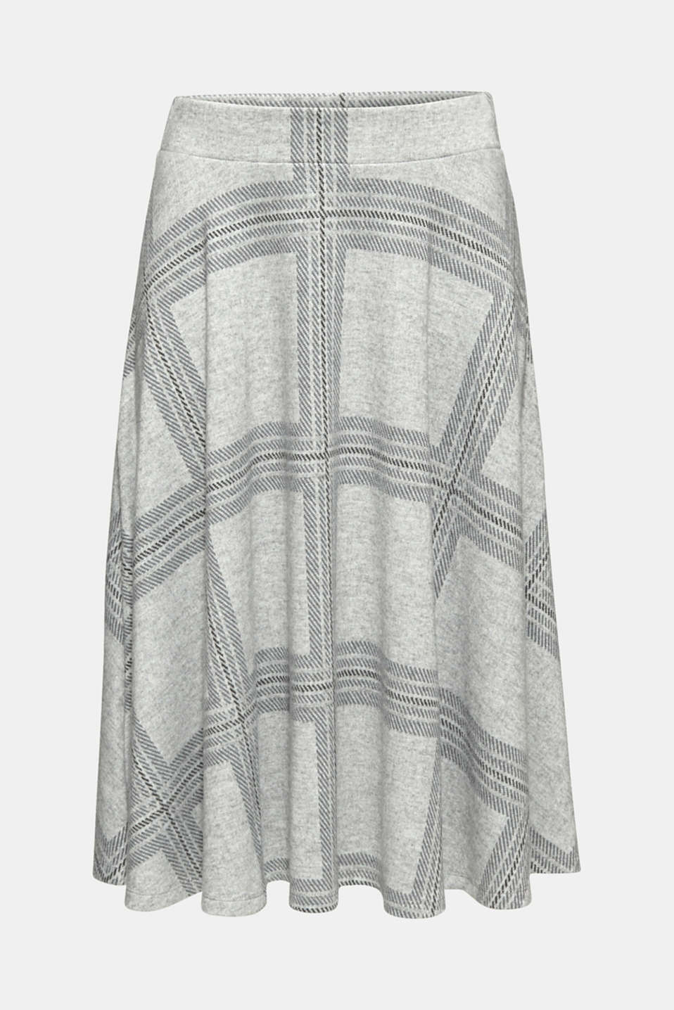 Fluffy jersey skirt with a check pattern, LIGHT GREY 5, detail image number 8