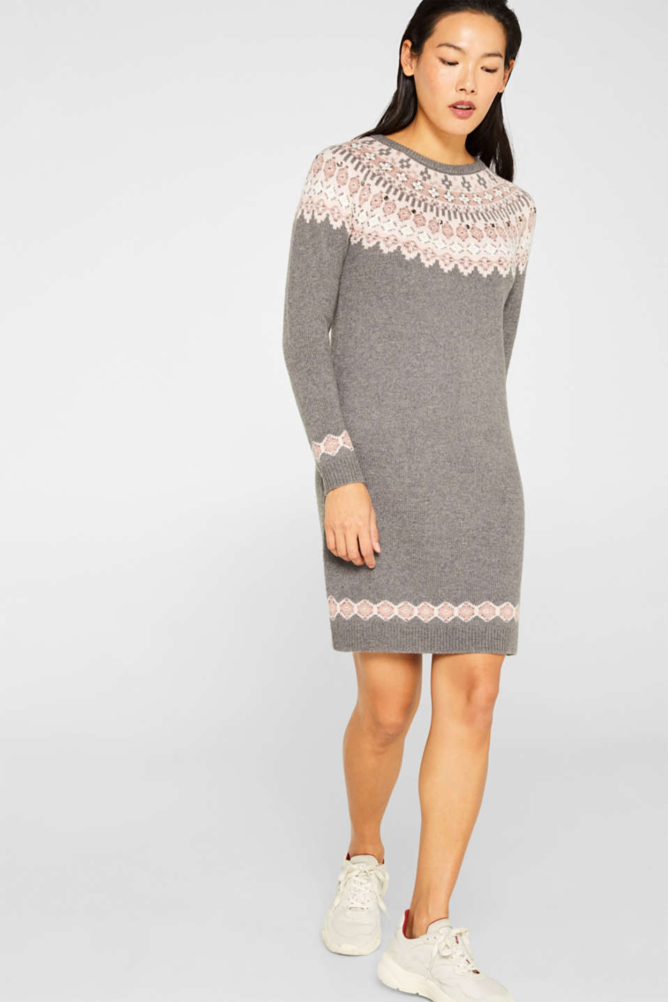 Esprit - Knit dress with a glittering jacquard pattern